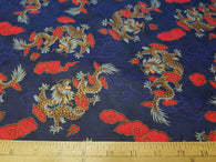 Dragons on Blue- Cotton Woven