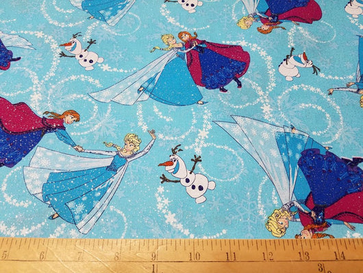 Frozen: Dancing in the Snow- Glitter Cotton Woven