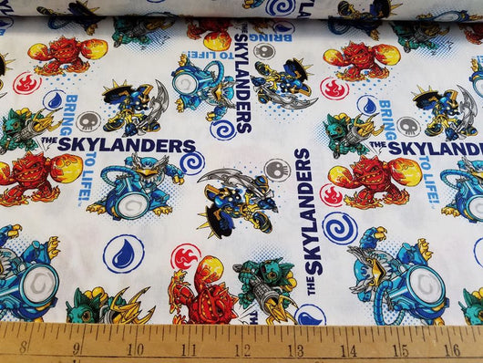 Skylanders: To Life on White- Cotton Woven
