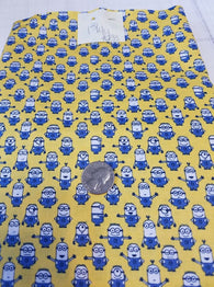 Remnant #233- Cotton Woven Minion Graphics on Yellow 1 3/4y