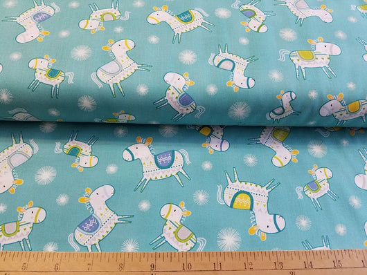Happy Horses on Blue- Cotton Woven
