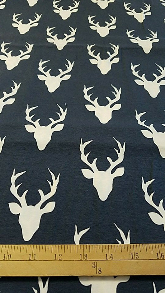Cotton/ Lycra: Buck Heads on Navy