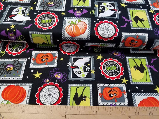 Halloween Friends: Blocks on Black- Cotton Woven Glow in the Dark