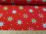 Snowflakes on Red- Cotton Woven