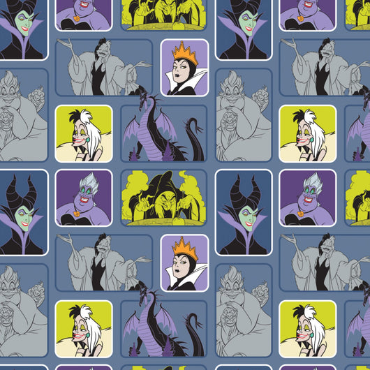 Disney Villains: Wicked Women Light Blue- Cotton Woven
