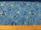 Starlight: Medium Blue Constellations- Metallic Cotton Woven