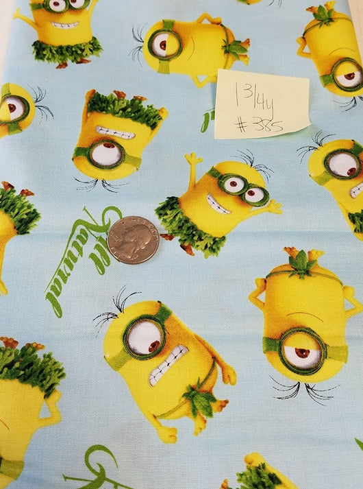 Remnant #385- Cotton Woven Minions All Natural 1 3/4y