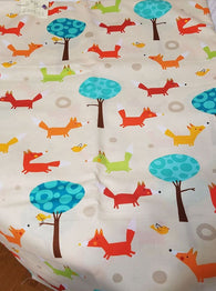 Remnant #1017-37: Cotton Woven Forest Animals 2 3/8y