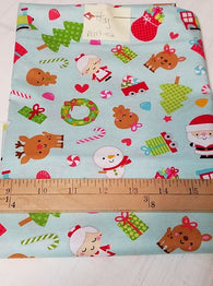 Remnant #1217-02: Cotton Woven Christmas Santa 7/8y