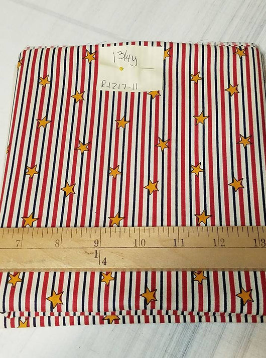 Remnant #1217-11: Cotton Woven Red/ White/ Blue Stripe 1 3/4y