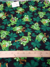 Remnant #1217-31: Cotton Woven St Patrick's Day Frogs 1y 34