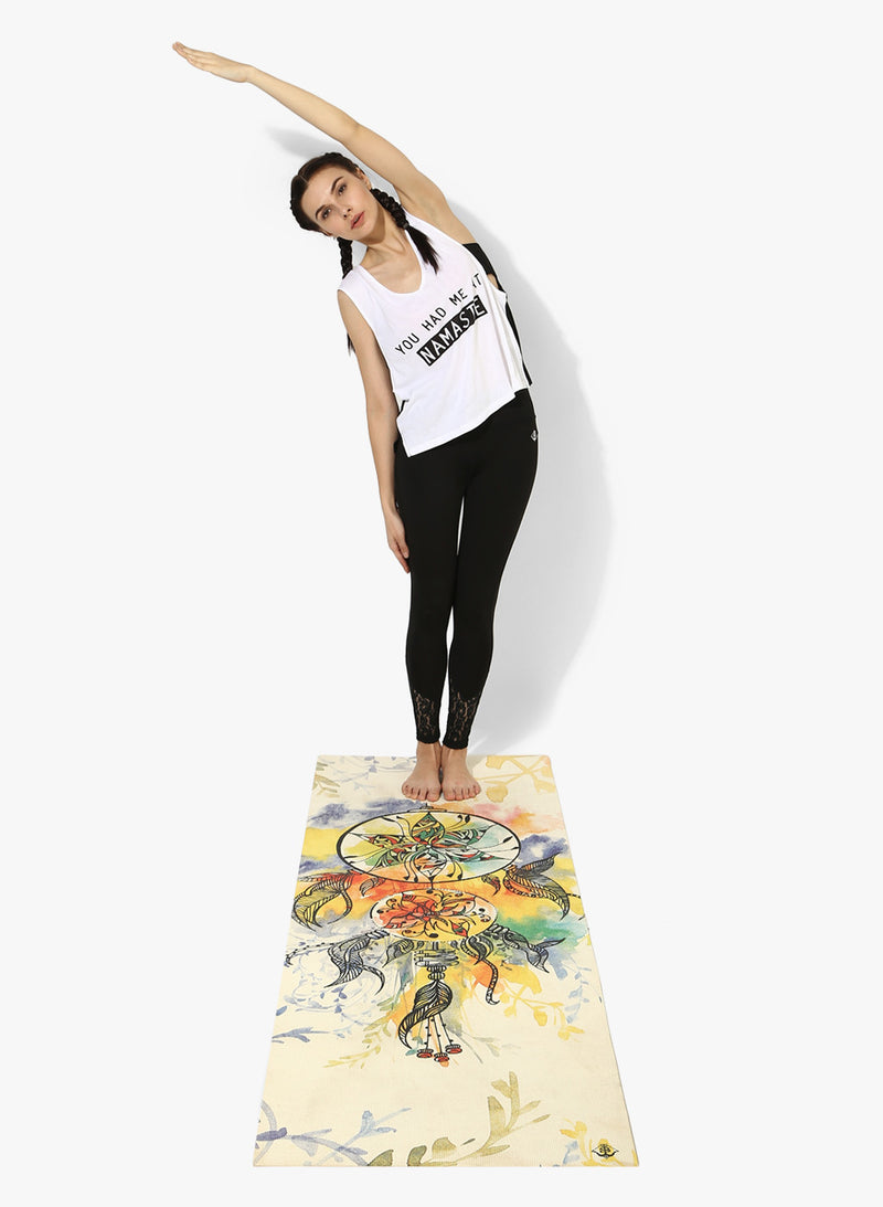 Spiritual Warrior's eco-friendly yoga mats have great grip, anti-slip, good cushioning for the knees, high quality, portable, affordable with beautiful prints