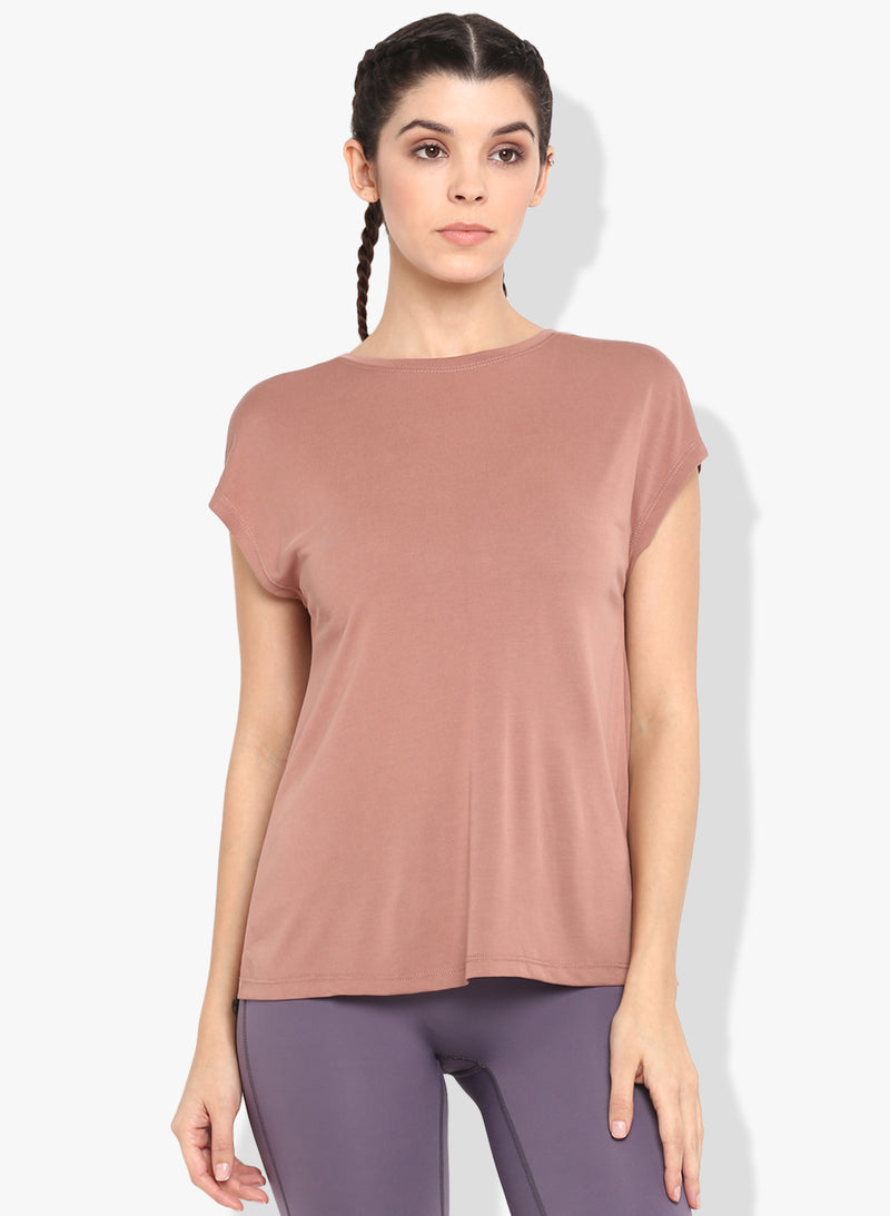 Shakti  Warrior Sutra Split Back t-shirt blush