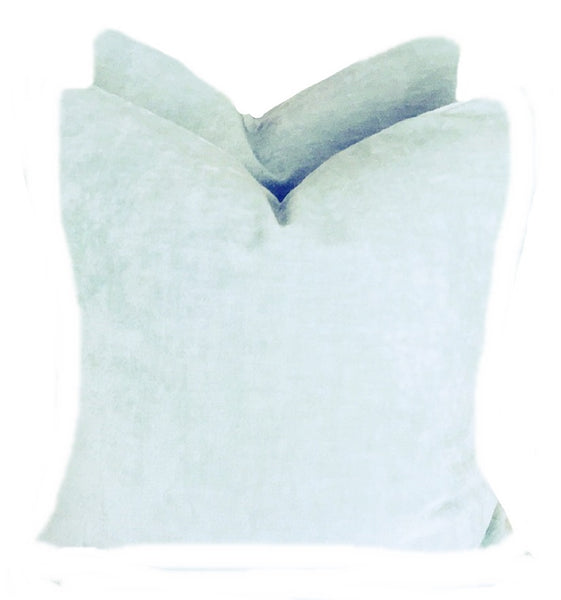 baby blue linen velvet pillows