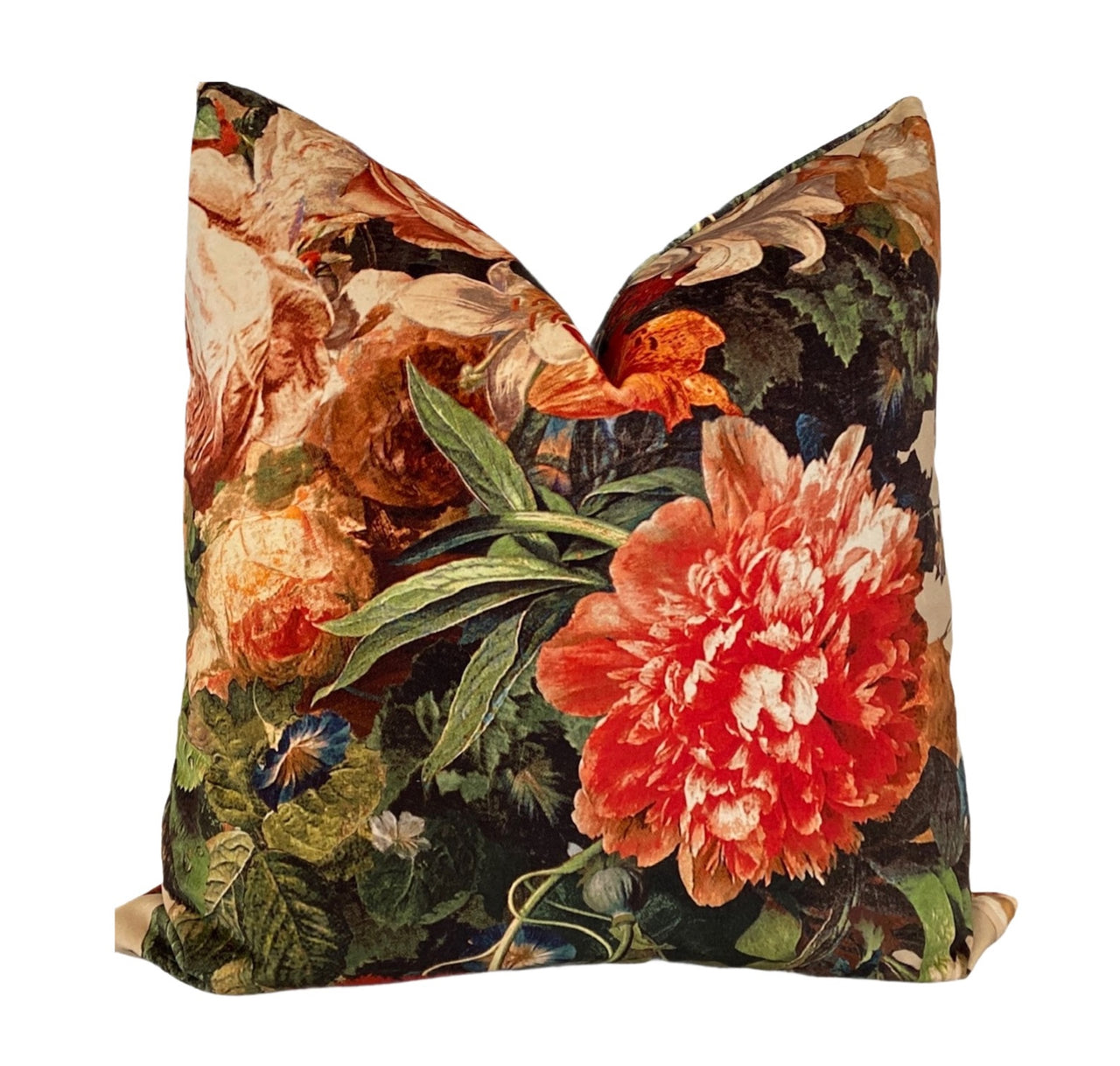 Orange Velvet Garden Pillow