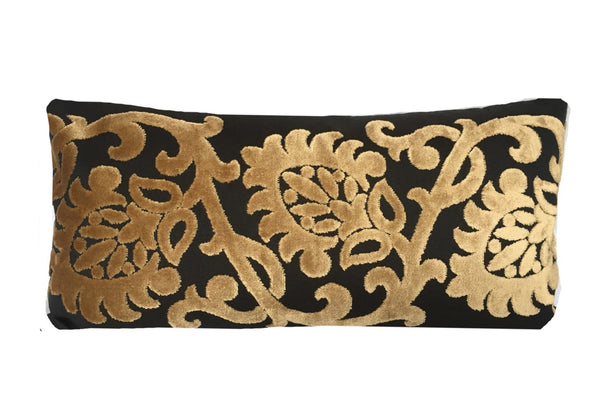 Black and Gold Lumbar Pillow Cover