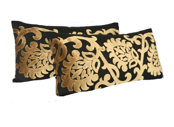 Black and Gold Lumbar Pillows