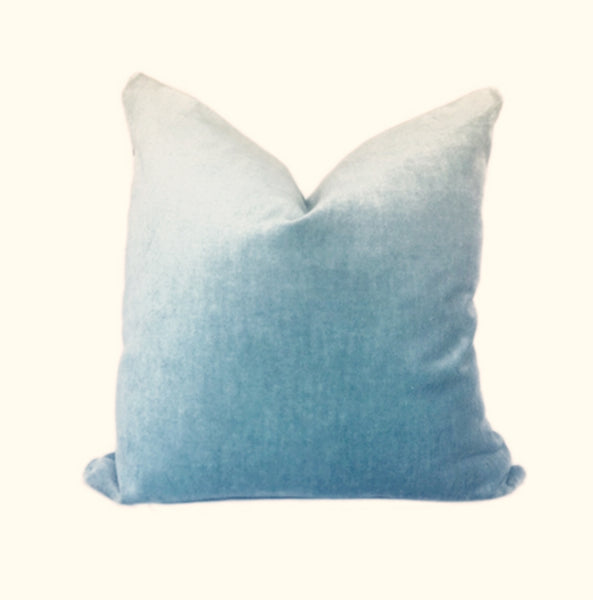 blue linen velvet pillow cover