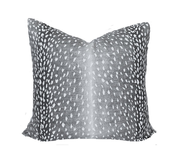 Charcoal Antelope Print Pillow Cover