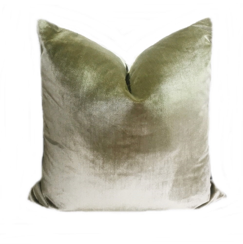 Green Italian Silk Velvet Pillow