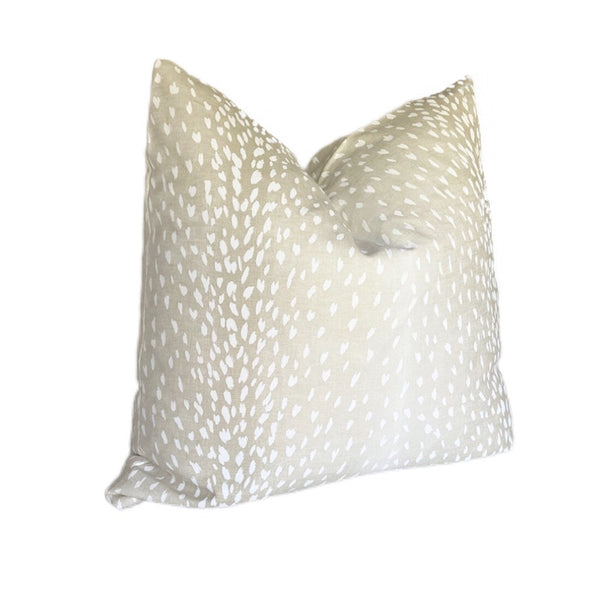 Light Tan & White Antelope Print Linen Pillow Cover