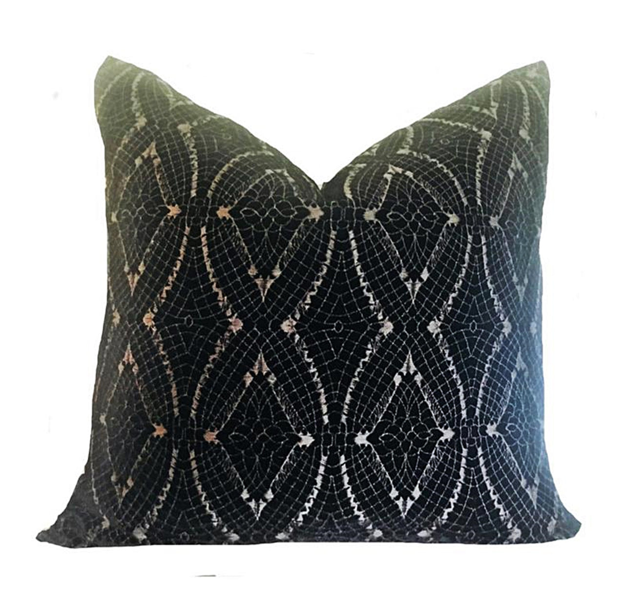 Black Embroidered French Silk Velvet Pillow Cover