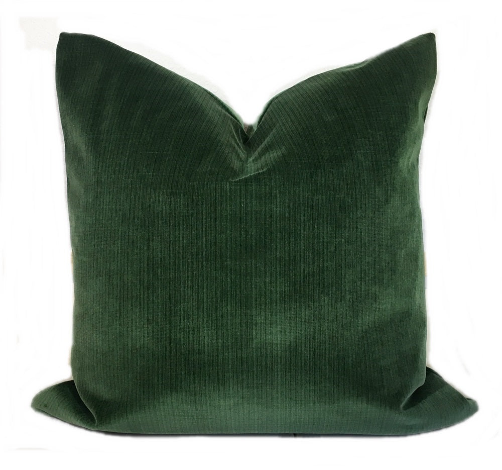 Emerald Green Strie Velvet Pillow