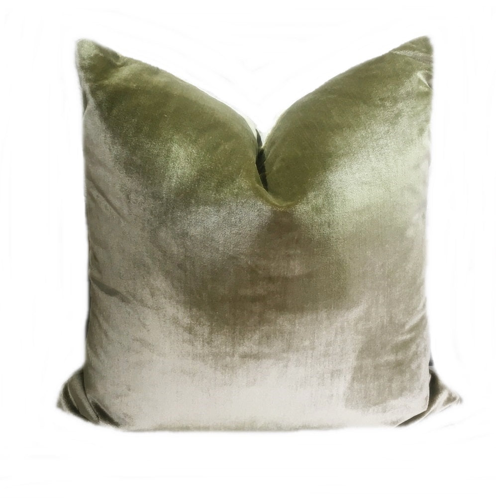 Olive Green Silk Velvet Pillow