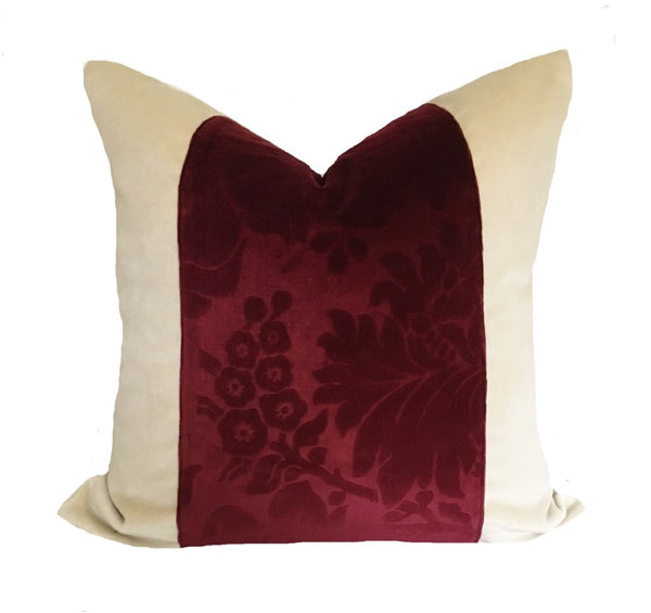 Vintage Cut  Velvet Color Block Pillow Cover
