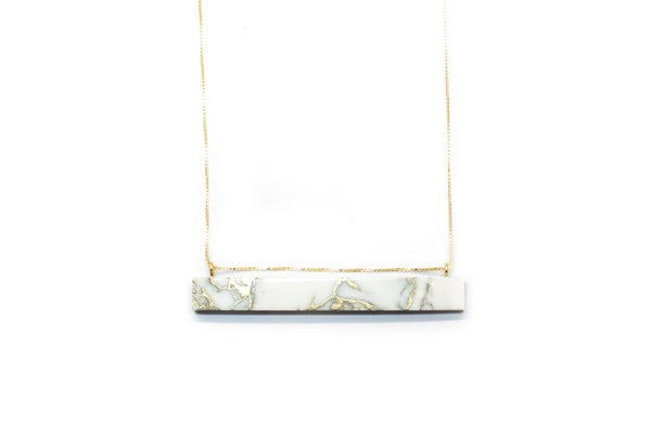 minimalist marble bar necklace