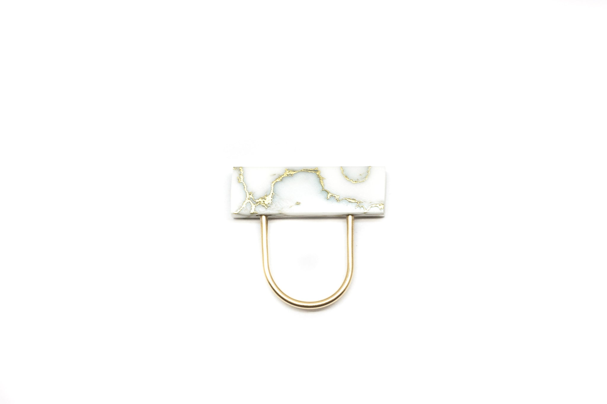 Gold and marble hightop U ring