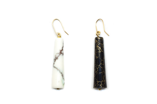 B & W marble earrings