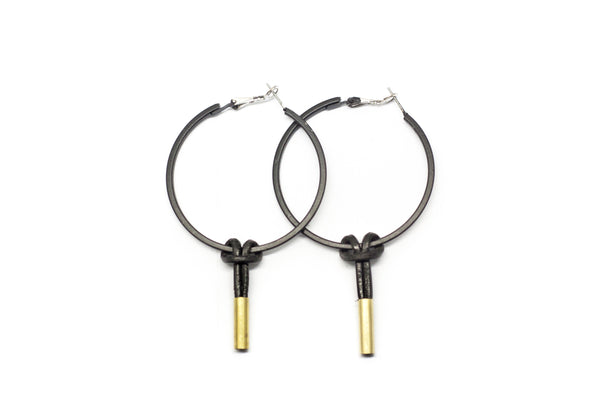 leather knot hoops