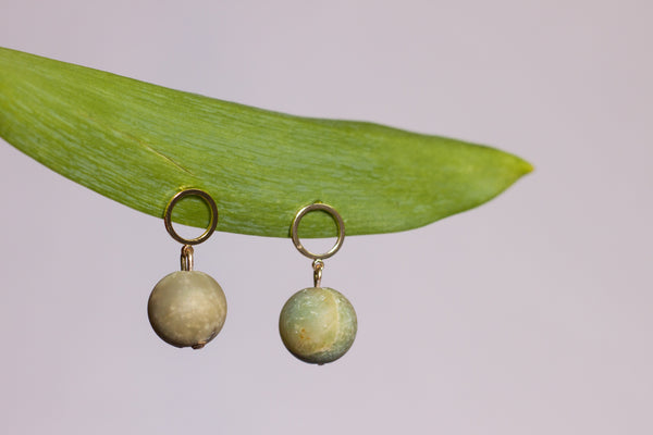 Amazonite Ball Earring
