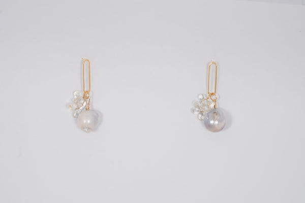Baroque Pearl and Citrine Cluster Earrings