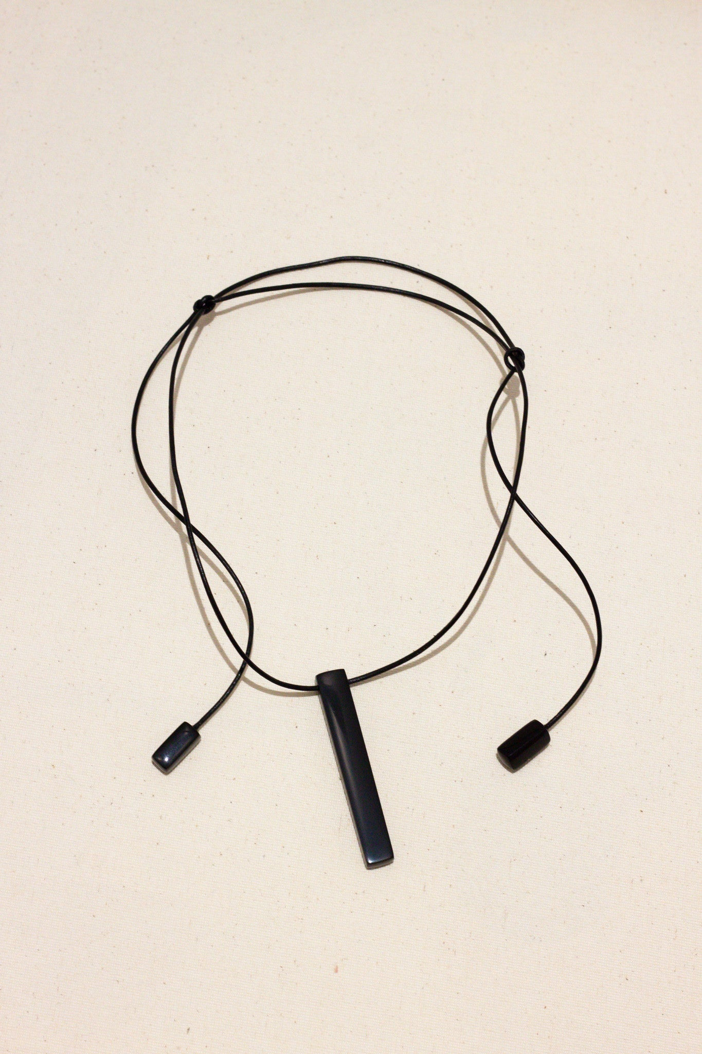 Onyx bar tie necklace