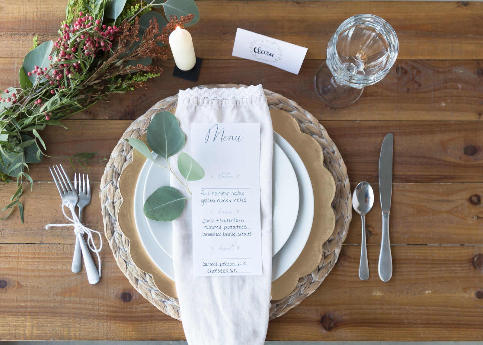 Company is Coming | Free Thanksgiving Menu + Place Card Download