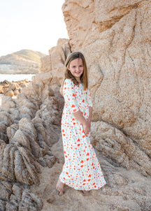 Inherit Co.  | Modest Girls Dresses | girls purple floral smocked midi dress