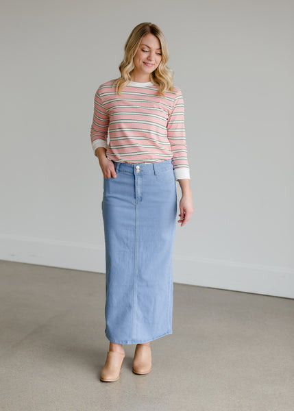The Double Button Straight Denim Skirt