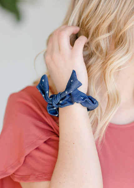 Chambray Stars Scrunchie