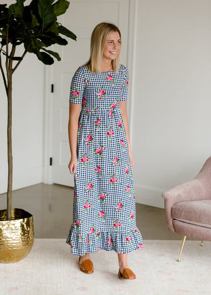 Dorothy Gingham Floral Maxi Dress
