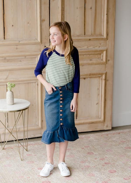 Ruffle Button Denim Jean Midi Skirt