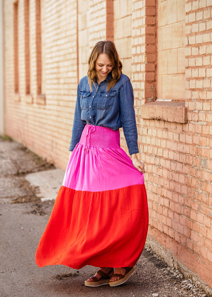 Smocked Red And Pink Color Block Maxi Skirt