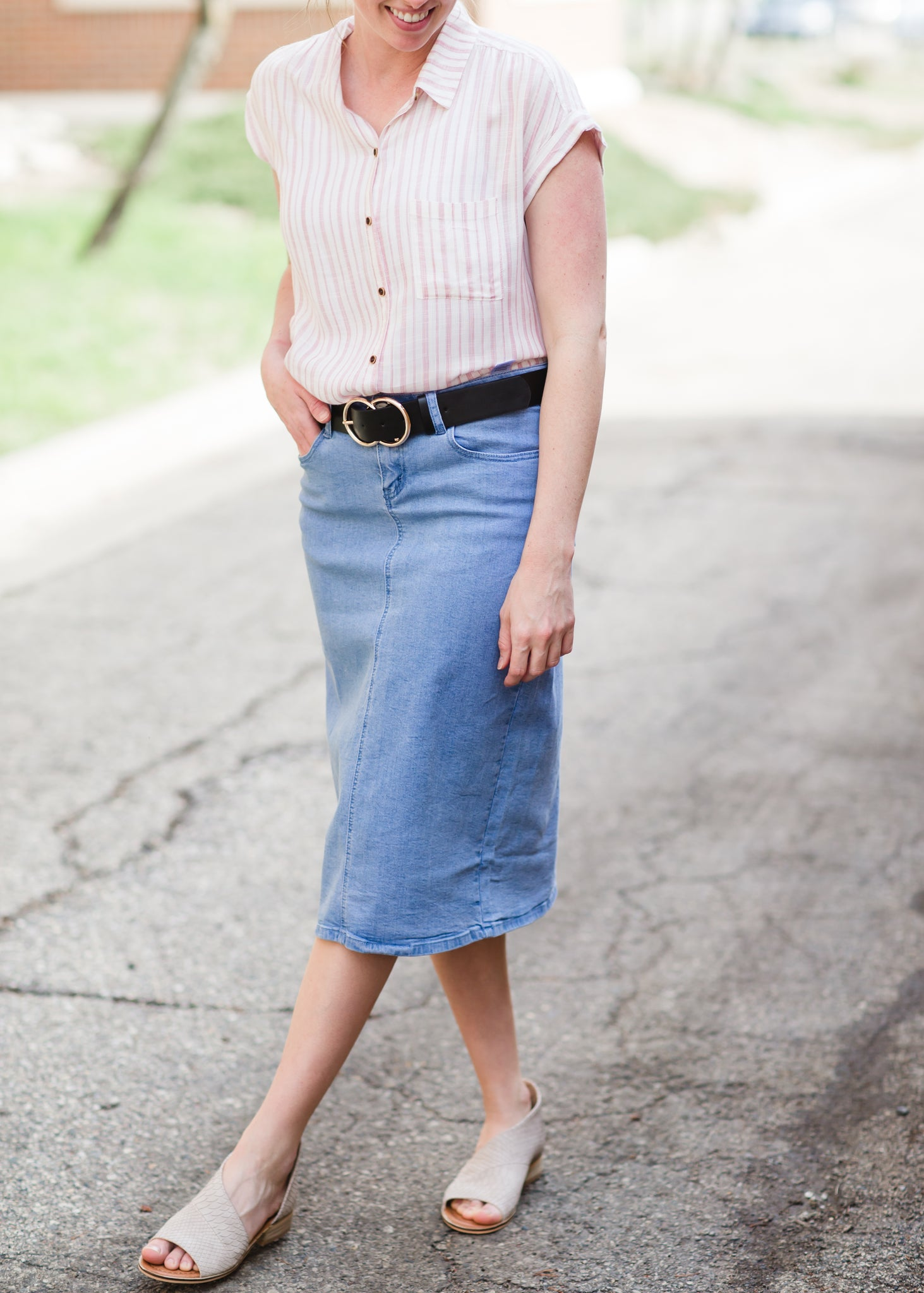 light denim modest midi skirt and blush and ruffle striped tank top