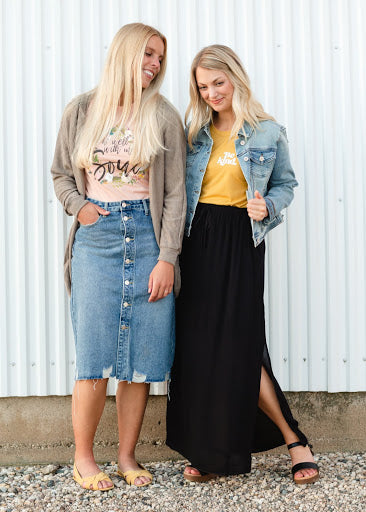 Avri Button Up Distressed Midi Jean Skirt