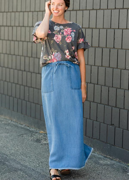 Meadow Drawstring Waist Long Denim Jean Skirt