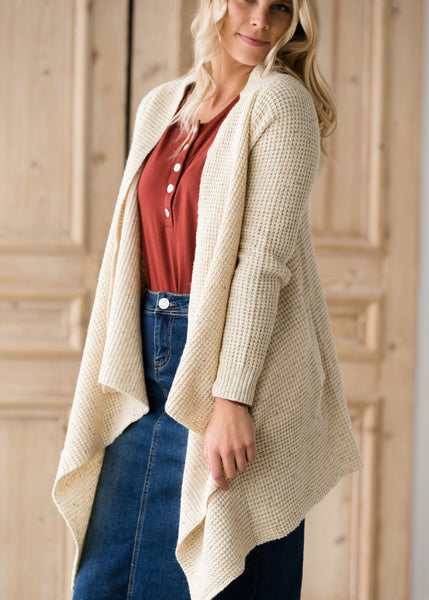 Waffle Wrap Button Sweater