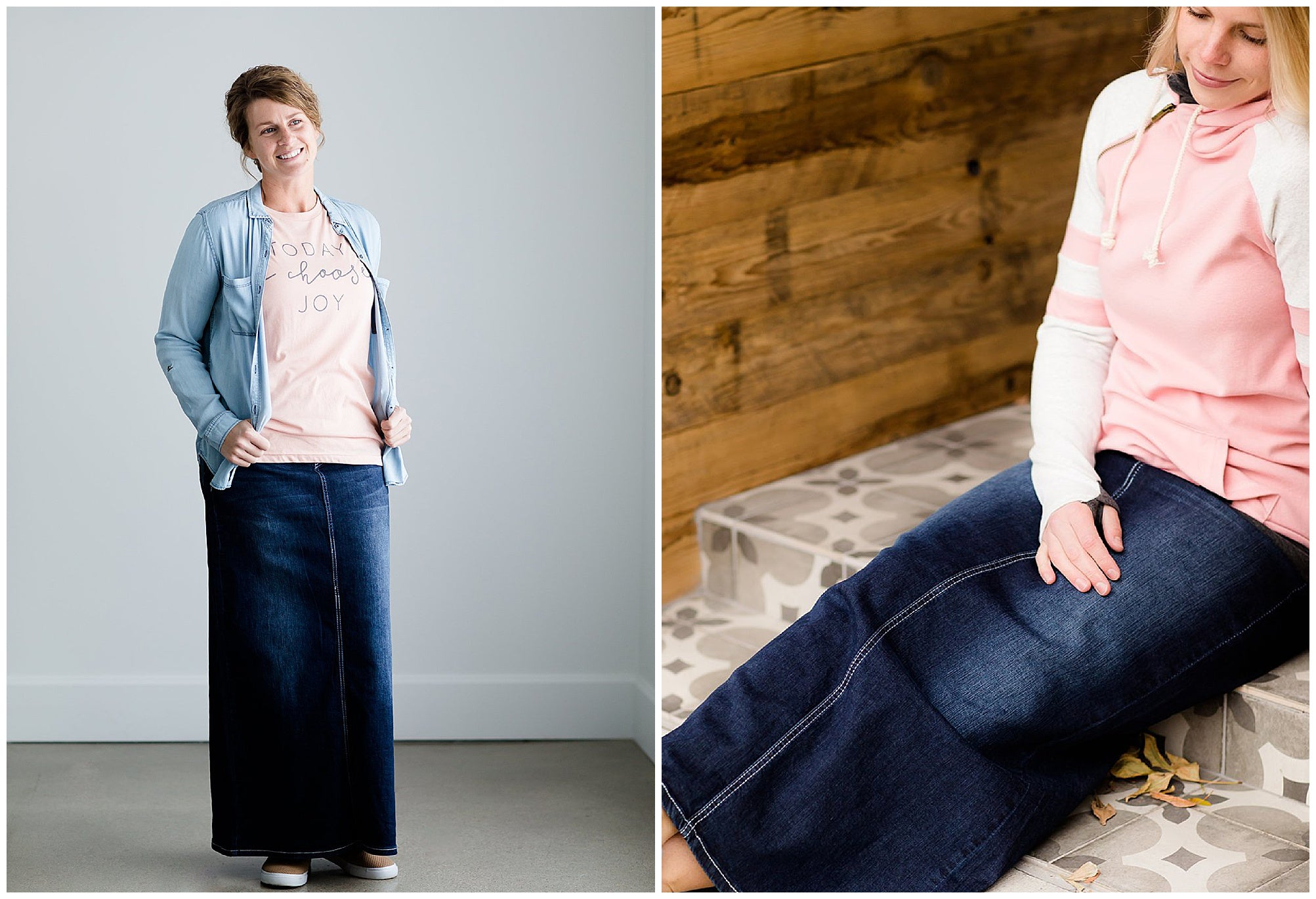 Long Modest Denim Skirts