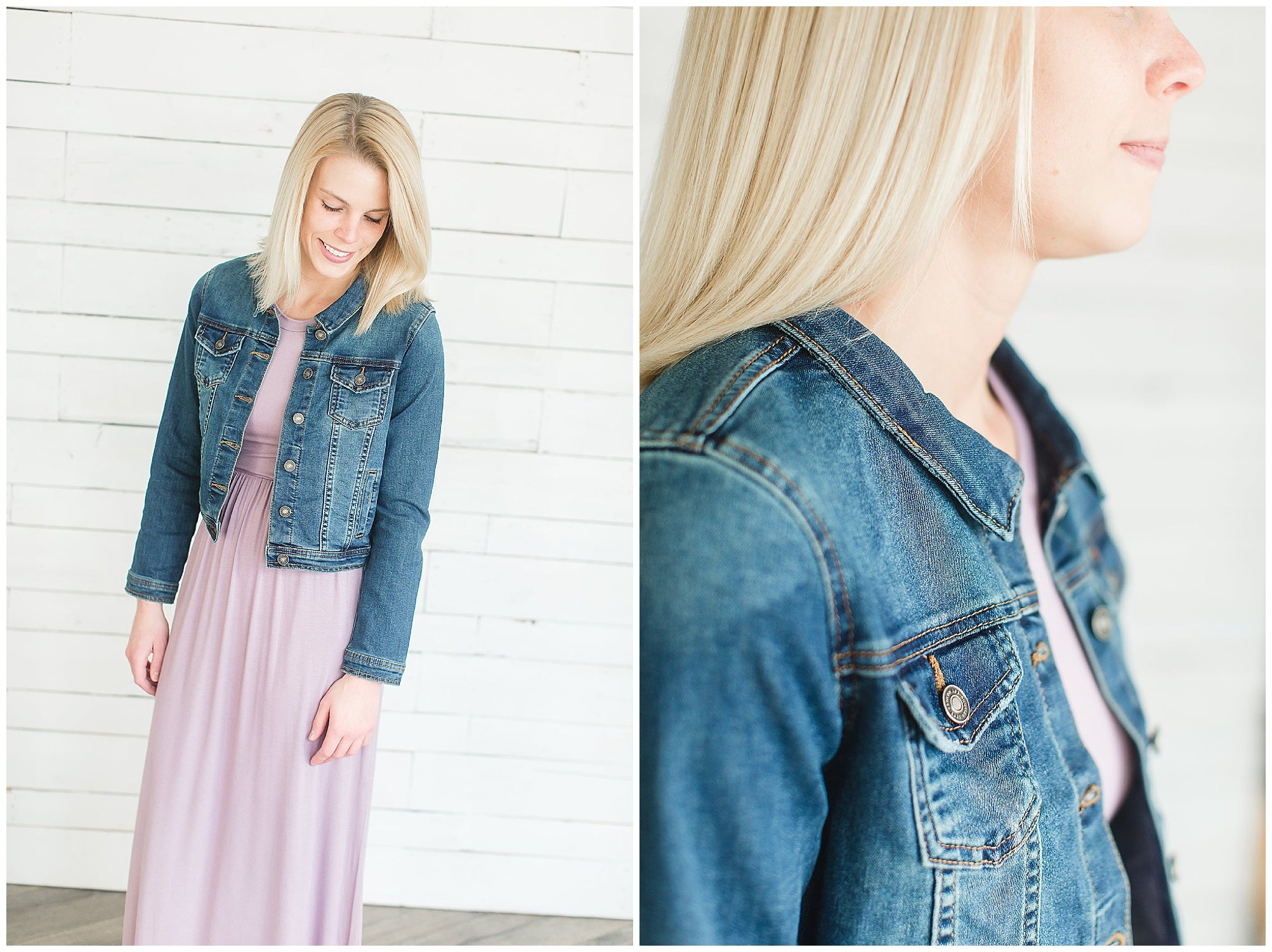 Classic Denim Jean Jacket with Maxi Dress