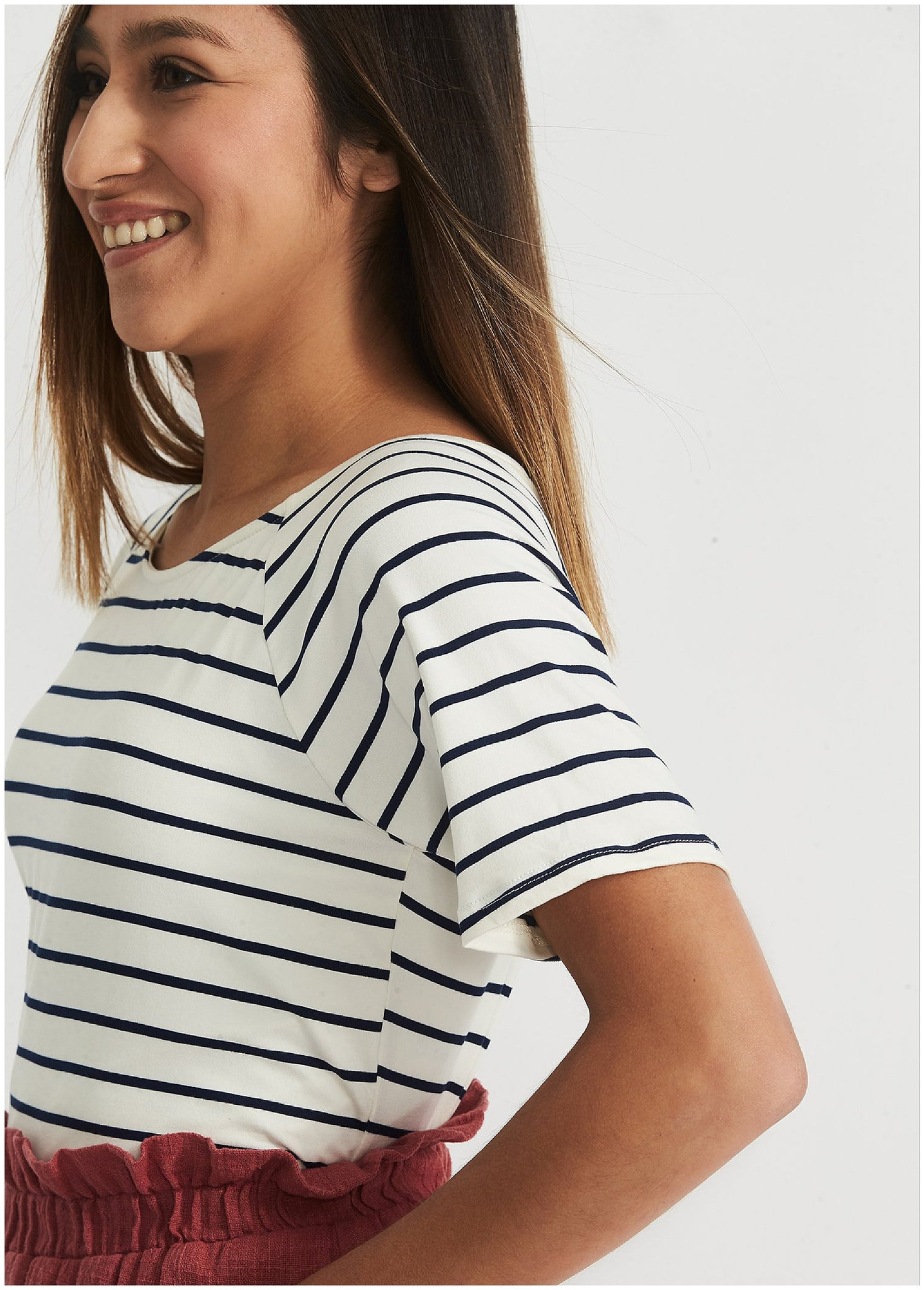 Modest Black and White Striped Tee